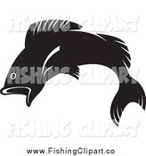 Clip Art of a Leaping Black and White Fish by Lal Perera