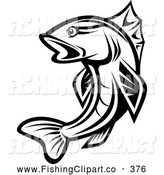 Clip Art of a Leaping Black and White Trout by Vector Tradition SM