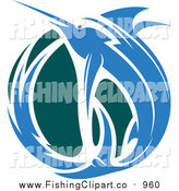 Clip Art of a Leaping Blue Marlin Fish and Teal Wave by Vector Tradition SM