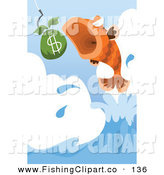 Clip Art of a Leaping Fish About to Eat a Bag of Money by Mayawizard101