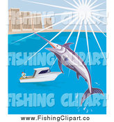 Clip Art of a Leaping Marlin over a Boat by a City by Patrimonio