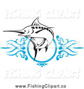 Clip Art of a Leaping Marlin over Blue Swirls by Patrimonio