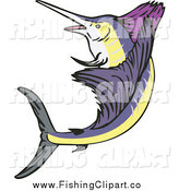 Clip Art of a Leaping Sailfish by Patrimonio