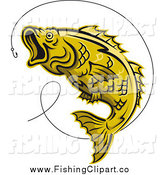 Clip Art of a Leaping Yellow Trout Fish and Hook by Vector Tradition SM