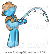 Clip Art of a Light Blue Fisherman Wearing a Hat and Vest and Holding a Fishing Pole by Leo Blanchette