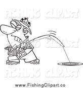 Clip Art of a Lineart Cartoon Man Trying to Pull in a Tough Fish by Ron Leishman