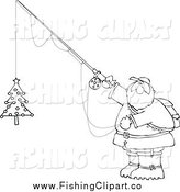 Clip Art of a Lineart Chubby Santa Holding a Christmas Tree on a Fishing Hook by Dennis Cox