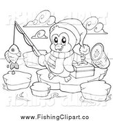 Clip Art of a Lineart Fishing Penguin by Visekart