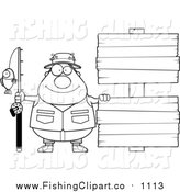 Clip Art of a Lineart Happy Chubby Fisherman with Wooden Signs by Cory Thoman