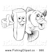 Clip Art of a Lineart Happy French Fry Chip and Fish by AtStockIllustration