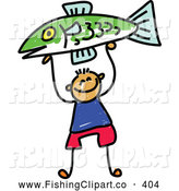 Clip Art of a Little Boy Proudly Holding up a Caught Fish by Prawny