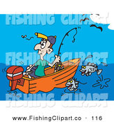 Clip Art of a Lone Man Fishing and Watching a Fly Go by by Dennis Holmes Designs