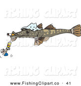 Clip Art of a Man Holding onto a Hook on a Giant Fish Smoking a Cigarette on White by Dennis Holmes Designs