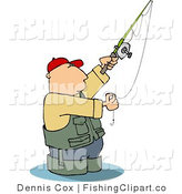Clip Art of a Man in Wading Boots Wading in Water While Fishing by Djart
