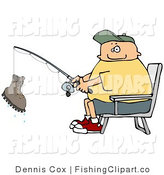 Clip Art of a Man Reeling in a Boot on His Fishing Rod by Djart