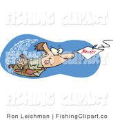 Clip Art of a Man Swimming After a Bonus by Toonaday