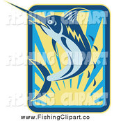 Clip Art of a Marlin Jumping over a Sunset with Droplets by Patrimonio
