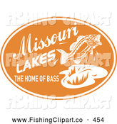 Clip Art of a Missouri Lakes the Home of Bass Text with a Fish on an Orange Oval, on White by Patrimonio