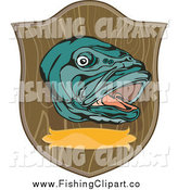 Clip Art of a Mounted Large Mouth Bass Fish Plaque by Patrimonio
