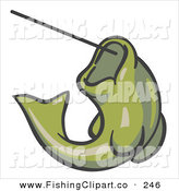 Clip Art of a Olive Green Fish Jumping up and Biting a Hook on a Fishing Line on White by Leo Blanchette