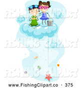 Clip Art of a Pair of Kids Fishing for Sea Shells up on a Cloud by BNP Design Studio