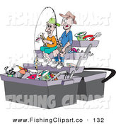 Clip Art of a Pair of Men Sitting in a Giant Tackle Box by Dennis Holmes Designs