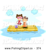 Clip Art of a Pair of Stick Kids Fishing on a Bamboo Raft by BNP Design Studio