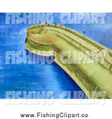 Clip Art of a People Fishing off of a Coastal Pier by Prawny