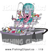 Clip Art of a Pink and Blue Octopus Fishing Junk out of a Tackle Box by Dennis Holmes Designs