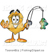 Clip Art of a Police Badge Mascot Cartoon Character Holding a Fish on a Fishing Pole by Toons4Biz