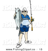 Clip Art of a Proud Angler Man Holding up His Catch by Dennis Holmes Designs