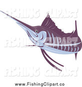 Clip Art of a Purple and Gray Sailfish by Patrimonio
