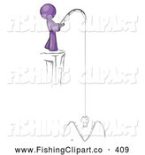 Clip Art of a Purple Design Mascot Person Fishing on a Cliff by Leo Blanchette