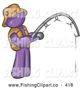 Clip Art of a Purple Man Wearing a Hat and Vest and Casting a Fishing Pole at a River or Lake by Leo Blanchette