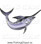 Clip Art of a Purple Swordfish by Patrimonio