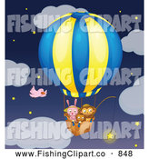 Clip Art of a Rabbit Cat and Monkey Fishing for Stars in the Sky from a Hot Air Balloon by Graphics RF