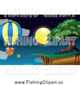 Clip Art of a Rabbit Cat and Monkey Star Fishing in a Hot Air Balloon over a Cliff at Night by Graphics RF