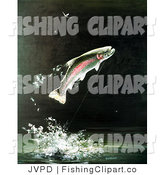 Clip Art of a Rainbow Trout Fish Jumping out of the Water After Biting a Fishing Hook on a Fisher's Line by JVPD
