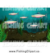 Clip Art of a Rainbow Trout Group Underwater by Colematt
