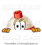 Clip Art of a Red and White Fishing Bobber Mascot Cartoon Character Peeking over a Surface by Toons4Biz