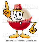 Clip Art of a Red and White Fishing Bobber Mascot Cartoon Character Pointing Upwards by Toons4Biz