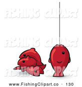 Clip Art of a Red Animal Factor Fish, One on a Fishing Line on White by Leo Blanchette