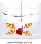 Clip Art of a Red Heart on a Hook Surrounded by Clownfish Underwater by