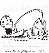 Clip Art of a Retro Black and White Man Catching a Giant Fish and Smiling by BestVector