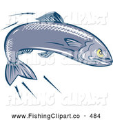 Clip Art of a Retro Determined Swimming Sardine by Patrimonio