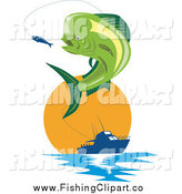 Clip Art of a Retro Mahi Mahi Dolphin Fish Jumping at a Lure with a Boat at Sunset by Patrimonio