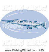 Clip Art of a Retro Needlefish Logo Swimming Left by Patrimonio