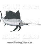 Clip Art of a Retro Sailfish Facing Right by Patrimonio