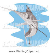 Clip Art of a Retro Sailfish over Water by Patrimonio