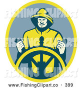 Clip Art of a Retro Sea Captain at the Wheel Logo by Patrimonio